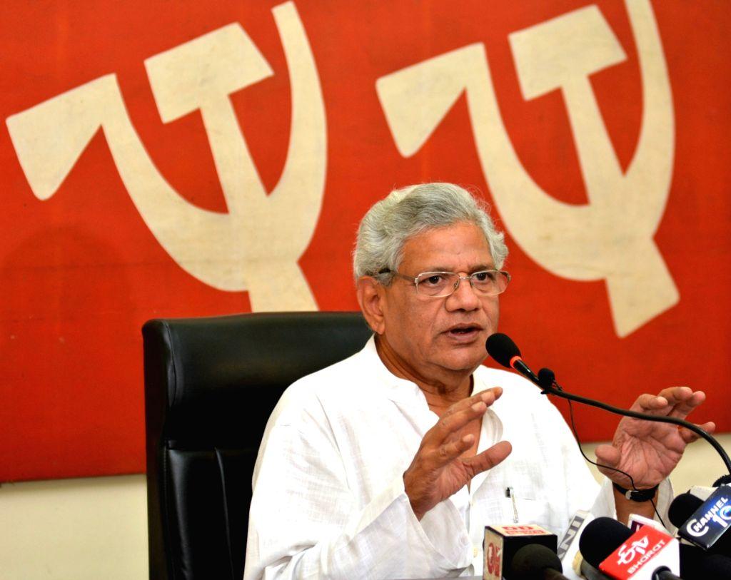 CPI-M General Secretary Sitaram Yechury addresses a press conference, in Kolkata on April 26, 2019. - Sitaram Yechury