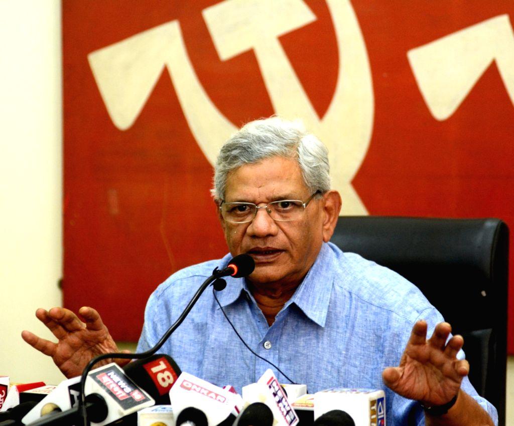 CPI-M General Secretary Sitaram Yechury addresses a press conference, in Kolkata, on June 4, 2019. - Sitaram Yechury