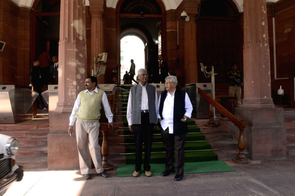 CPI(M) General Secretary Sitaram Yechury and CPI leader D Raja at Parliament in New Delhi on Nov 28, 2016. - Sitaram Yechury