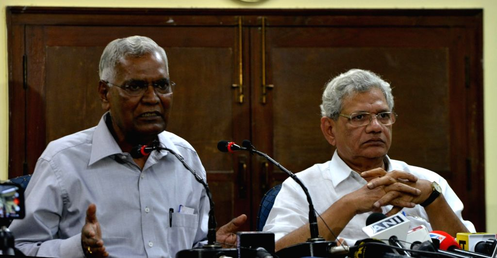 CPI-M General secretary Sitaram Yechury and CPI General Secretary D Raja address a press conference in New Delhi on Aug 9, 2019. - Sitaram Yechury
