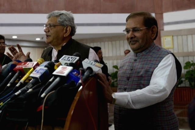CPI(M) general secretary Sitaram Yechury and JD(U) chief Sharad Yadav during a press conference after an all party meeting in New Delhi, on Nov 25, 2015. - Sharad Yadav