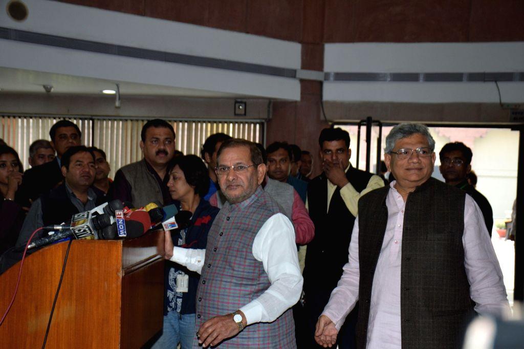 CPI(M) general secretary Sitaram Yechury and JD(U) chief Sharad Yadav during a press conference after an all party meeting in New Delhi, on Nov 25, 2015. - Sitaram Yechury