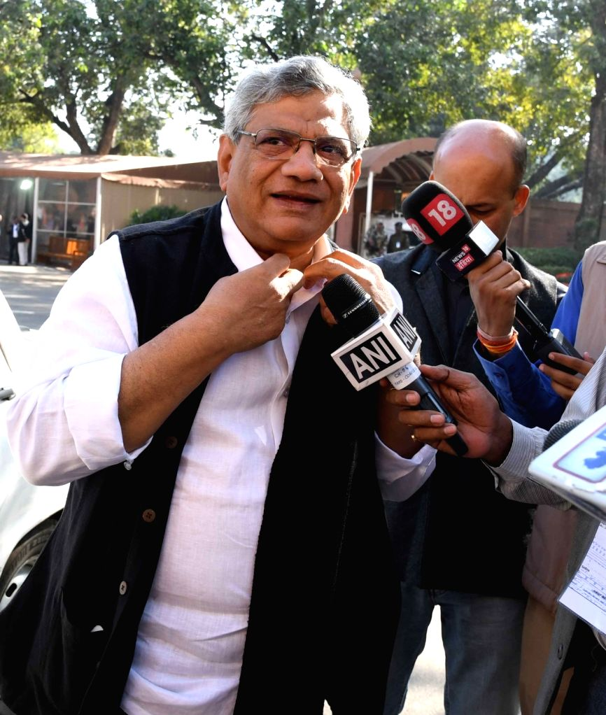 CPI-M general secretary Sitaram Yechury at Parliament in New Delhi on Nov 28, 2016. - Sitaram Yechury