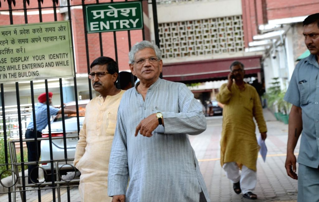 CPI-M General Secretary Sitaram Yechury comes out after meeting the Chief Election Commissioner (CEC), in New Delhi on April 15, 2019. - Sitaram Yechury
