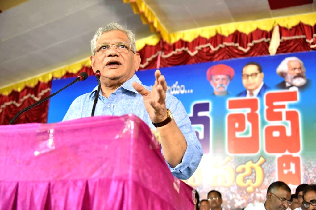 CPI-M General Secretary Sitaram Yechury during a meeting in Hyderabad on Jan 25, 2018. - Sitaram Yechury
