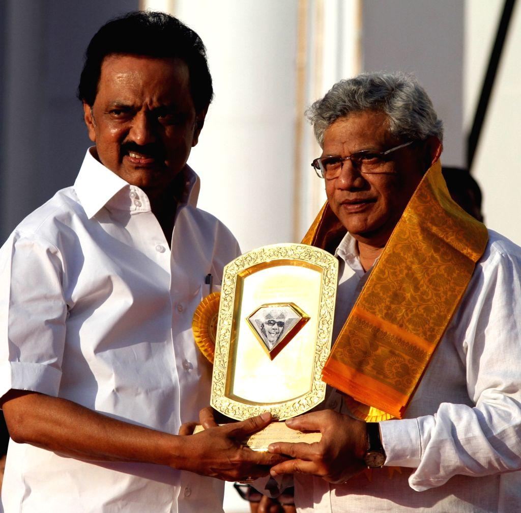 CPI-M General Secretary Sitaram Yechury with DMK working president M.K. Stalin during DMK chief Karunanidhi's birthday celebrations in Chennai on June 3, 2017. - Sitaram Yechury