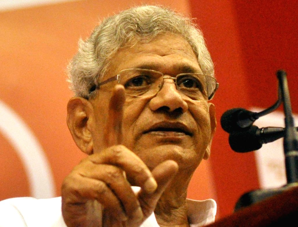CPI-M General Secretory Sitaram Yechury addresses during a programme organised to mark centenary of the formation of the Indian Communist Party (ICP), in Kolkata on Oct 17, 2019. - Sitaram Yechury