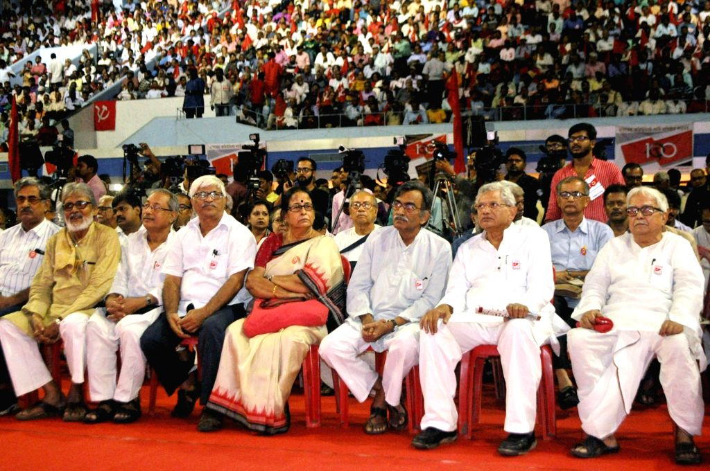 CPI-M General Secretory Sitaram Yechury with State leaders of the party during a programme organised to mark centenary of the formation of the Indian Communist Party (ICP), in Kolkata on Oct ... - Sitaram Yechury