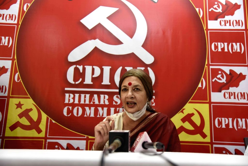 CPI-M leader Brinda Karat addresses a press conference on the eve of the first phase of Bihar Assembly Elections, in Patna on Oct 27, 2020.