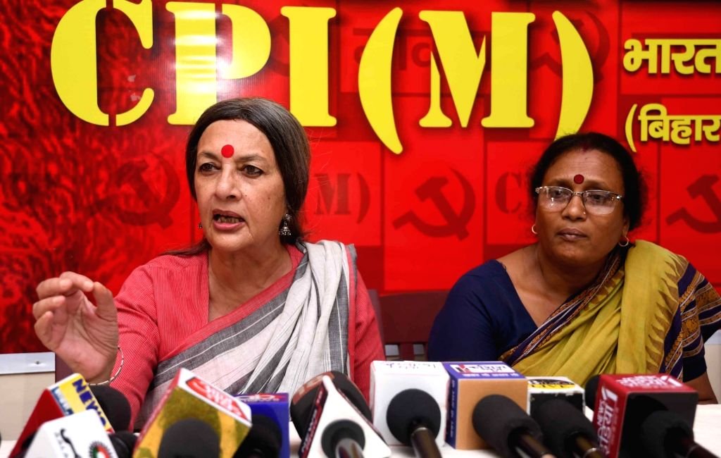 CPI-M leader Brinda Karat addresses a press conference, in Patna, on April 26, 2019.