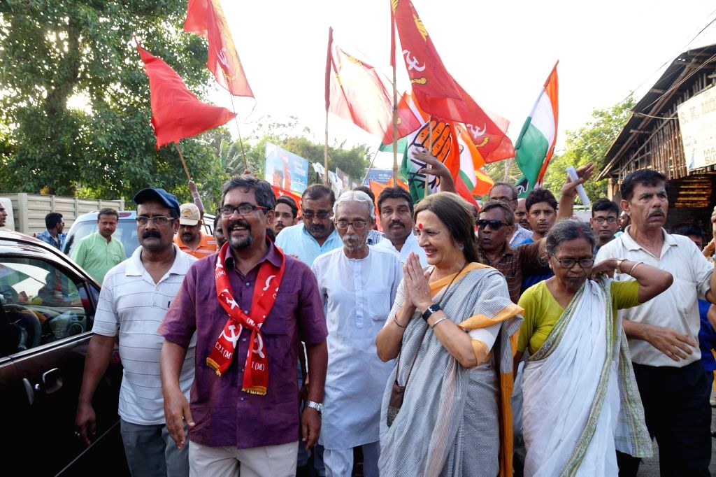 CPI-M leader Brinda Karat during an election rally in Uttarpara of Hooghly in West Bengal, on April 17, 2016.