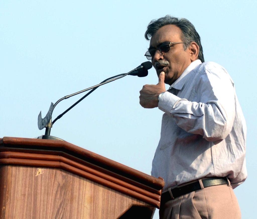 CPI-M leader Surjya Kanta Mishra addresses during a Left Front rally at the Brigade Parade ground in Kolkata on Feb 3, 2019. - Surjya Kanta Mishra