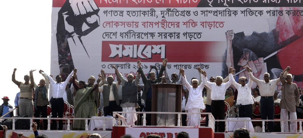 CPI-M leaders Sitaram Yechury, Biman Bose, Surjya Kanta Mishra and other leaders of left parties during a Left Front rally at the Brigade Parade ground in Kolkata on Feb 3, 2019. - Sitaram Yechury, Biman Bose and Surjya Kanta Mishra