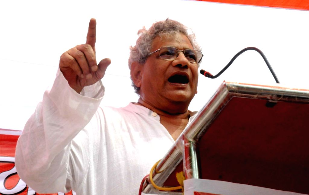"CPI(M) Secretary Sitaram Yechuri addresses during the ""Jan Akrosh March"" organised by CPI in Patna on Sept 19, 2017."