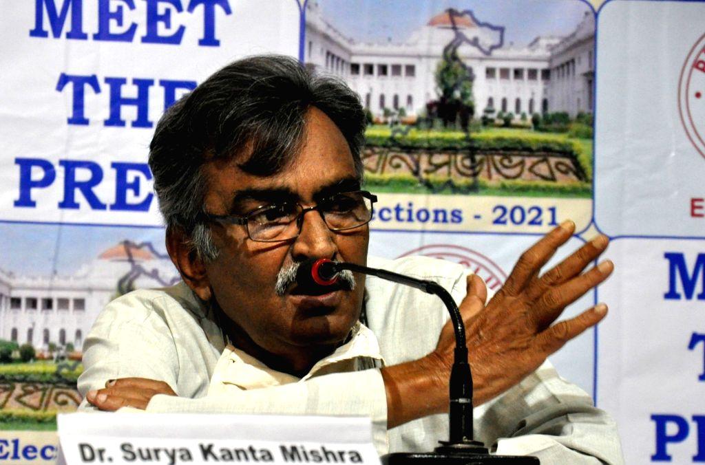 CPI(M) State Secretary Surja Kanta Mishra during meet the press in Kolkata on Apr 8, 2021.