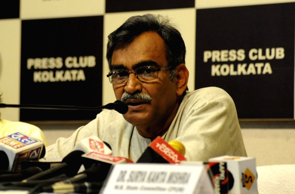 CPI-M West Bengal Secretary Surjya Kanta Mishra during a press conference at Press Club in Kolkata, on March 29, 2016.