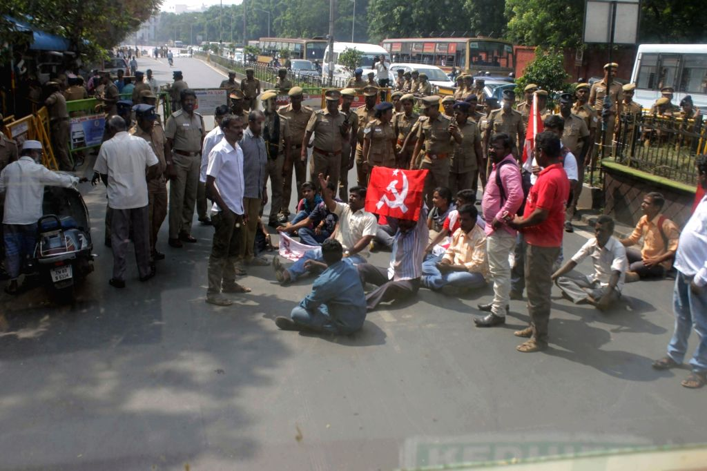 CPI-M workers stage a demonstration against demonetisation of Rs 1000 and 500 notes in Chennai on Nov 15, 2016.