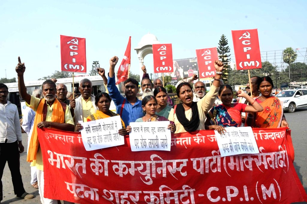 CPI-M workers stage a demonstration to press for their various demands, in Patna on Nov 15, 2019.