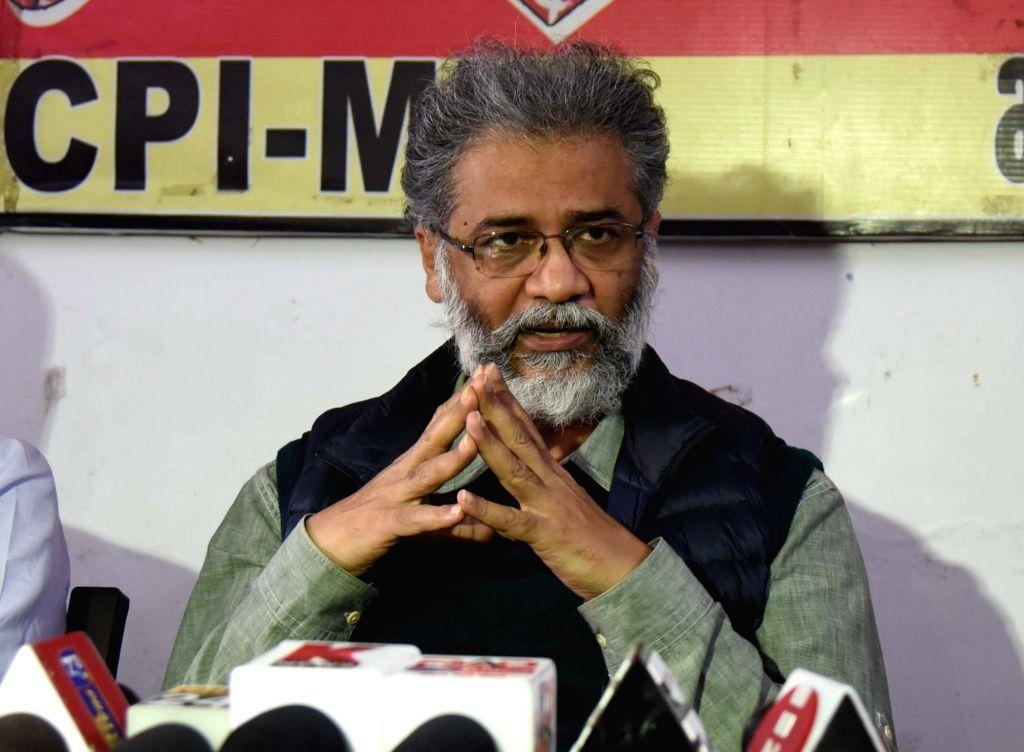 CPI-ML General Secretary Dipankar Bhattacharya addressing a press conference in Patna, Bihar on Wednesday 24th February, 2021.