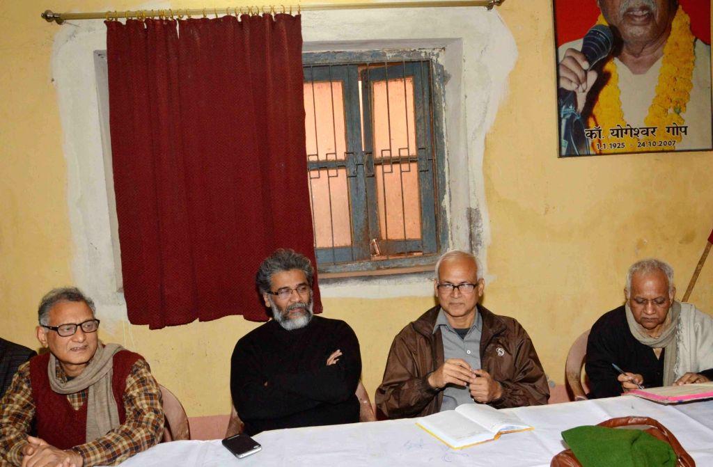 CPI-ML general secretary Dipankar Bhattacharya during a party meeting in Patna, on Jan 17, 2016.