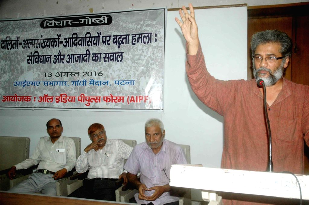 CPI-ML general secretary Dipankar Bhattacharya addresses a seminar on atrocities on Dalits organised by All India People Forum (AIPF) in Patna on Aug 12, 2016.