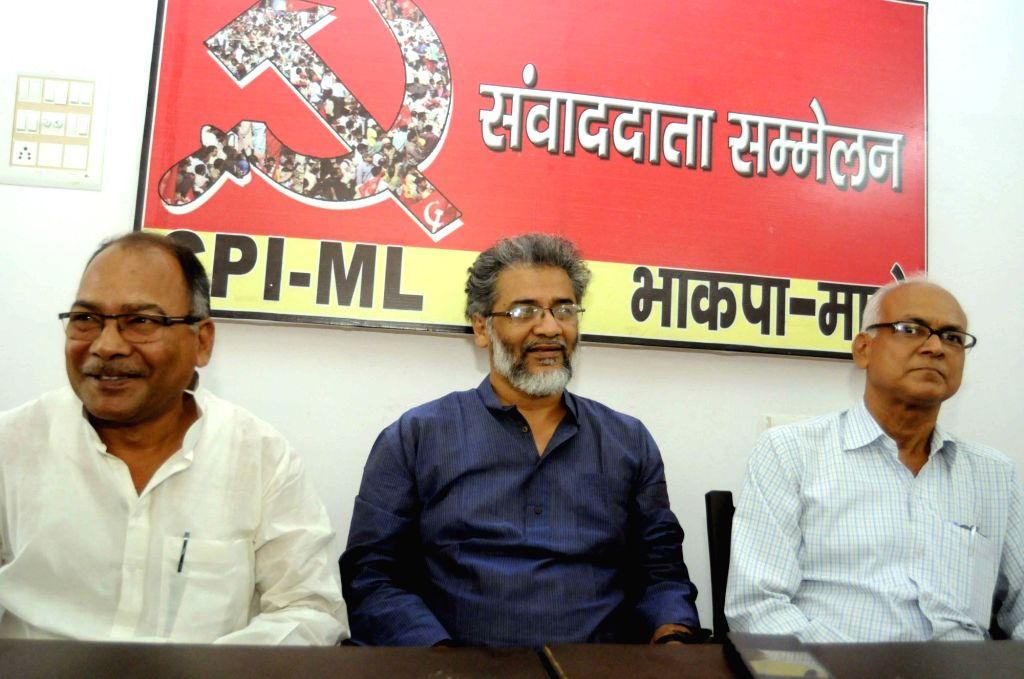 CPI-ML General Secretary Dipankar Bhattacharya during a press conference in Patna on April 13, 2018.
