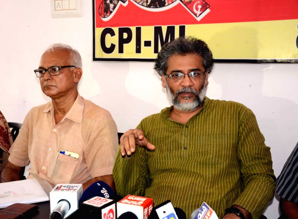 CPI-ML General Secretary Dipankar Bhattacharya addresses a press conference, in Patna on Aug 9, 2018.
