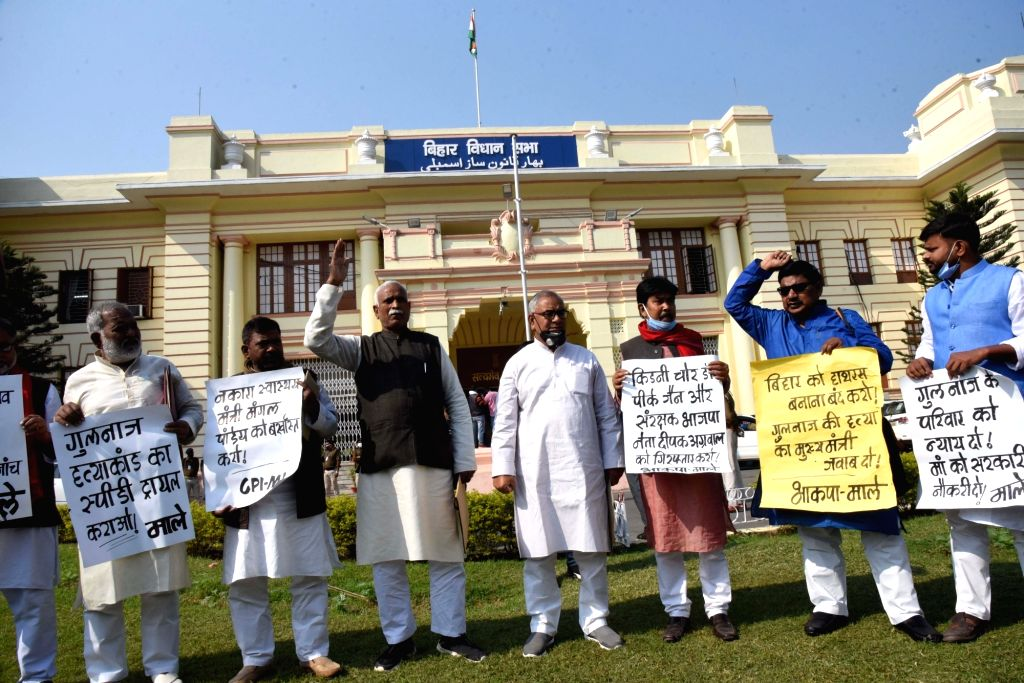 CPI-ML legislators protest over their various demands at the Bihar Assembly on the second day of the Winter Session, in Patna on Nov 24, 2020.
