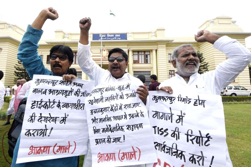 CPI-ML legislators stage a demonstration to press for their various demands at Bihar Legislative Assembly, in Patna on July 24, 2018.