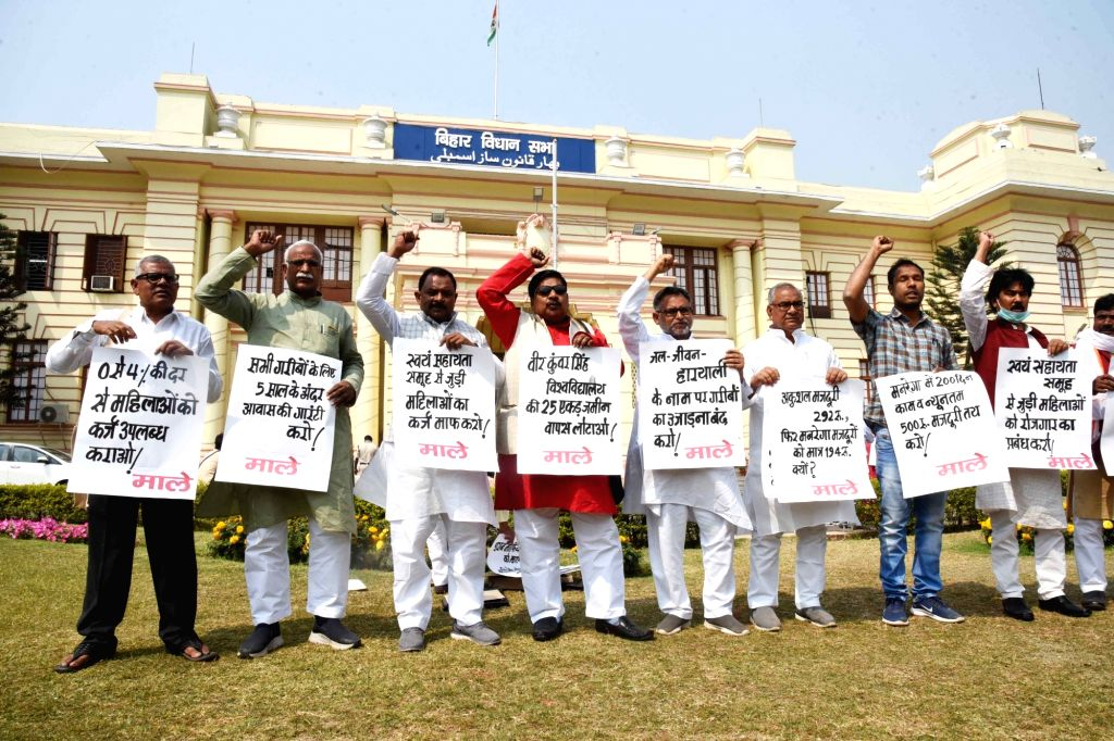 CPI-ML legislators stage protest at Bihar Assembly on going budget session in Patna on Monday March 08,2021 .