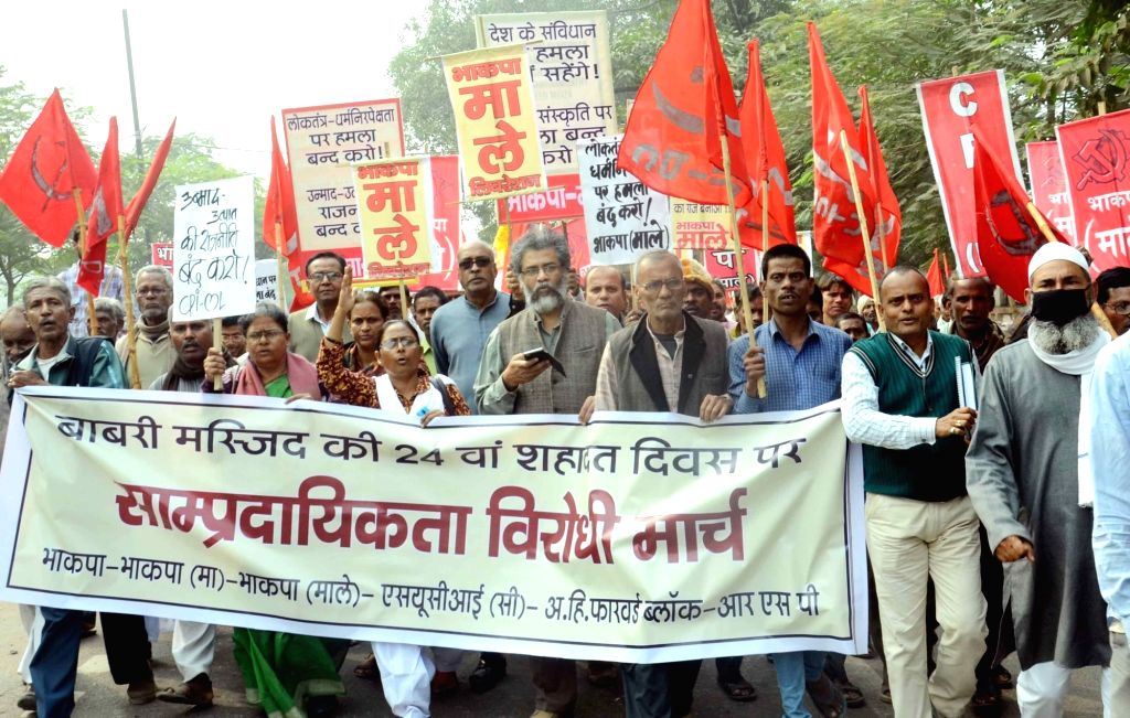 CPI-ML workers led by party General Secretary Dipankar Bhattacharya participate in a rally organised against Babri Masjid demolition in Patna on Dec 6, 2015.