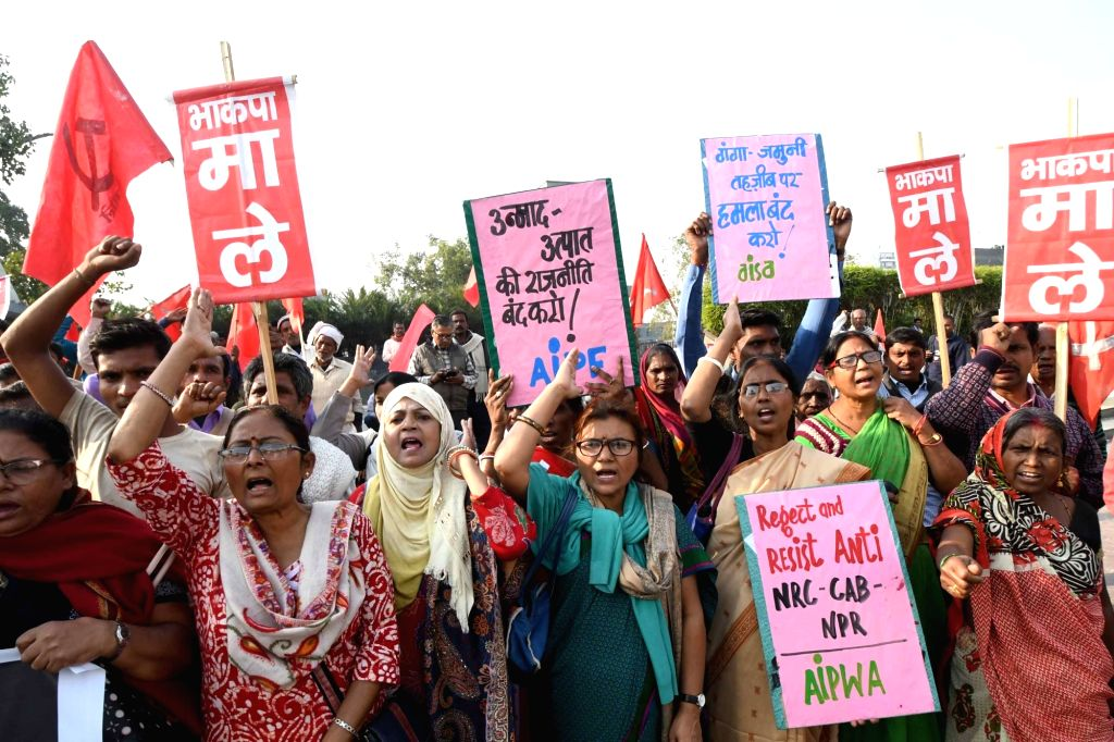CPI-ML workers stage a demonstration against the demolition of Babri mosque in Ayodhya; on the anniversary of the mosque's demolition, in Patna on Dec 6. 2019.