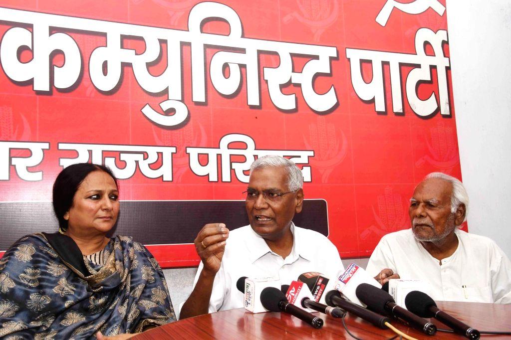 CPI National Secretary D. Raja addresses a press conference in Patna, on April 25, 2019.