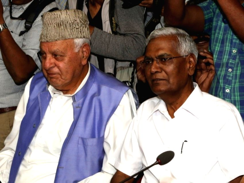 CPI National Secretary D. Raja and National Conference President Farooq Abdullah during the all party meeting in New Delhi, on June 16, 2019.