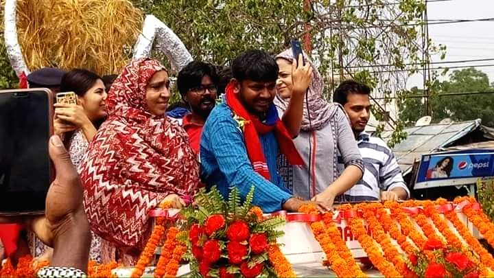 CPI's Lok Sabha candidate from Begusarai, Kanhaiya Kumar during a roadshow ahead of filing his nomination for the 2019 Lok Sabha elections, in Bihar's Begusarai on April 9, 2019. - Kanhaiya Kumar