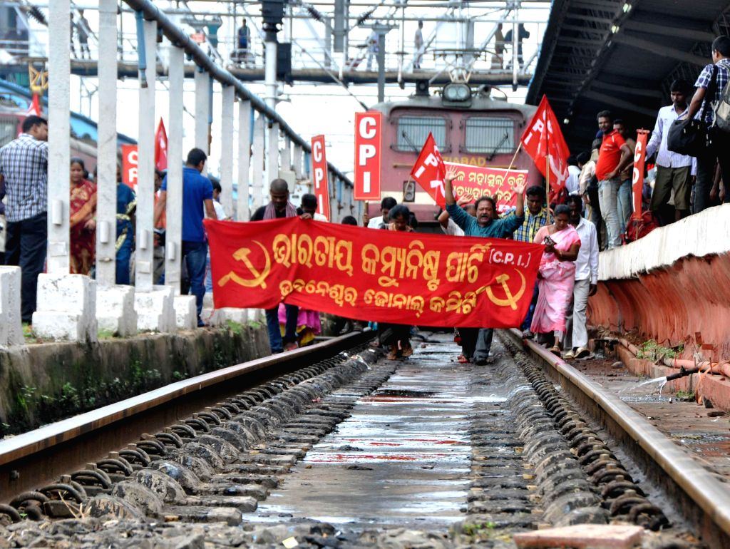 CPI with different political party stage demonstration during Railway price hike protest in Bhubaneswar on June 21, 2014.