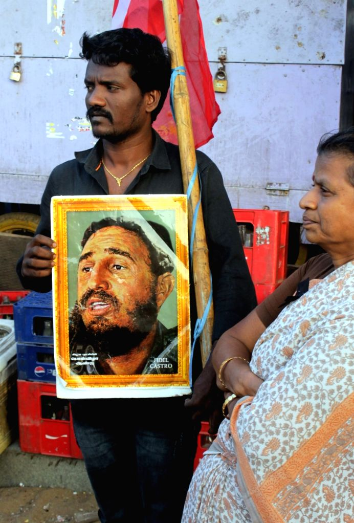 CPI workers participate in a rally to pay tribute to Cuban leader Fidel Castro in Chennai on Nov 26, 2015. Cuban revolutionary leader Fidel Castro died at 90.