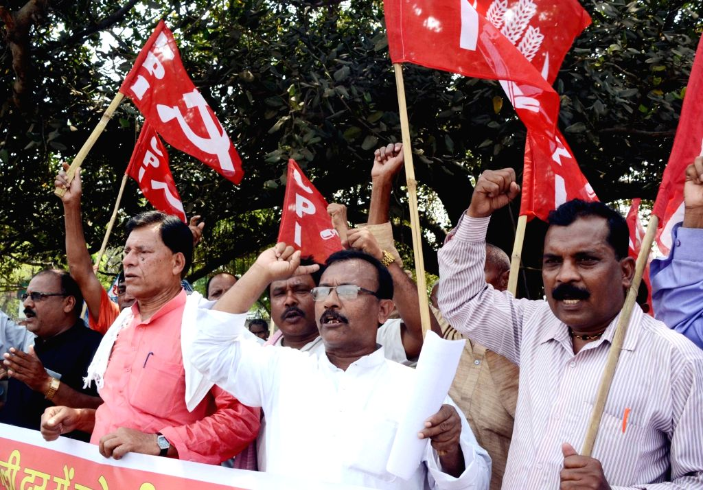 CPI workers stage a demonstration against hike in electricity tariff in Patna on April 3,  2017.