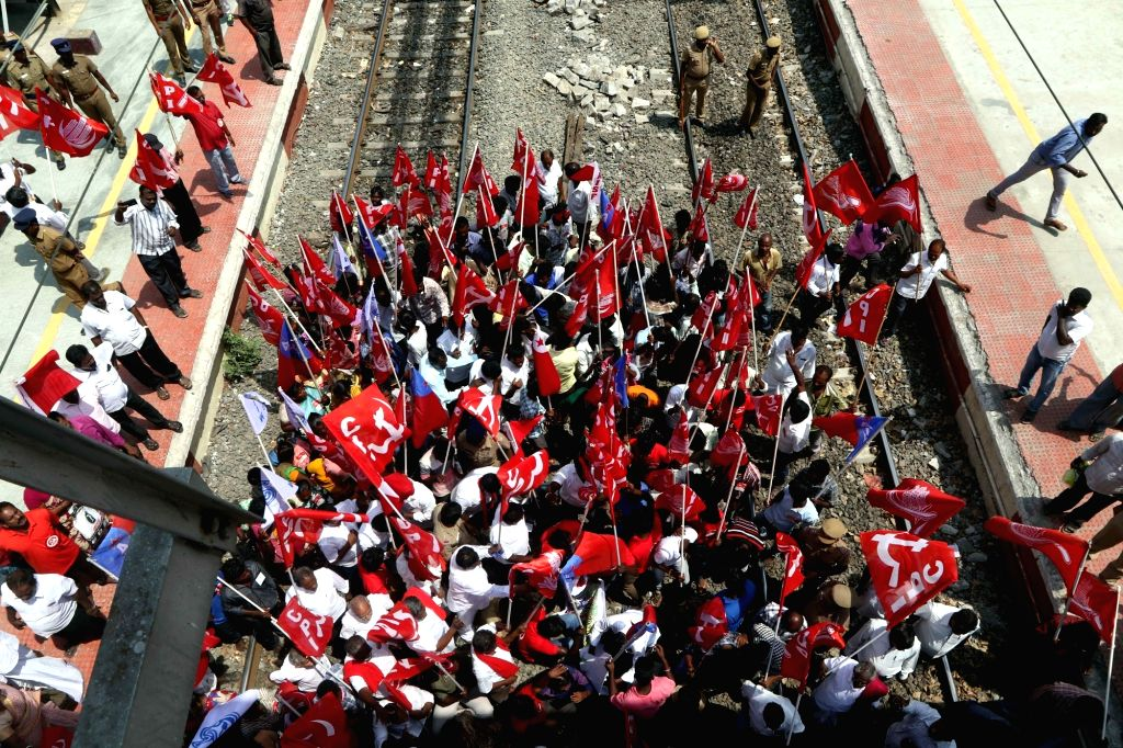 CPI workers stage rail roko protest against the Central government's failure to set up the Cauvery Management Board (CMB) despite a Supreme Court order; in Chennai on April 4, 2018.