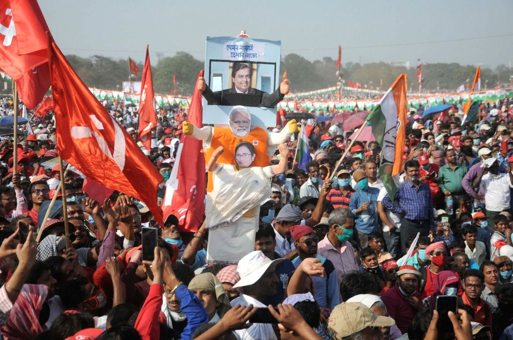 CPM-led Left Front, ISF and the Congress, joint rally at Kolkata Brigade Parade ground on Sunday 28th February, 2021.