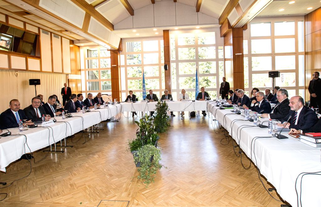 CRANS-Photo taken on June 30, 2017 shows the general view of the new round of the Conference on Cyprus under the auspices of the United Nations in Crans-Montana, ...