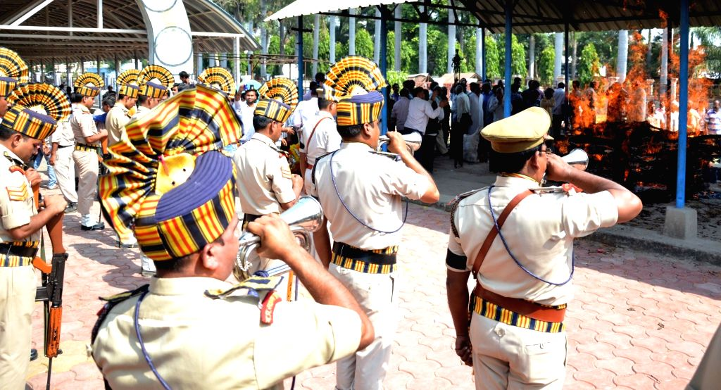 Cremation of Central Jail head-constable Ramashankar Yadav who was killed by the eight undertrial SIMI activists who escaped from the jail but were later killed in an alleged ... - Ramashankar Yadav