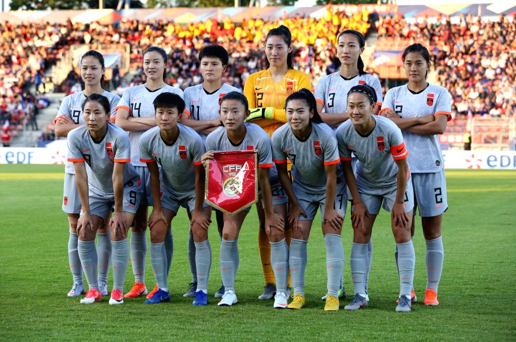 CRETEIL, June 1, 2019 - Players of China pose for a team photo before a friendly soccer match between France and China in Creteil, France, May 31, 2019. France won 2-1.