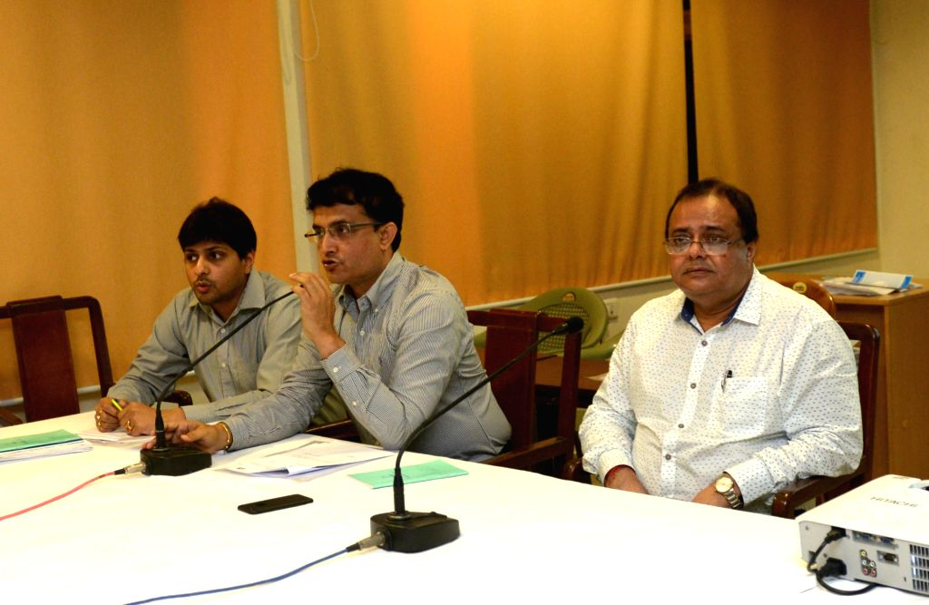 Cricket Association of Bengal (CAB) president Sourav Ganguly addresses a press conference in Kolkata on July 1, 2017. - Sourav Ganguly