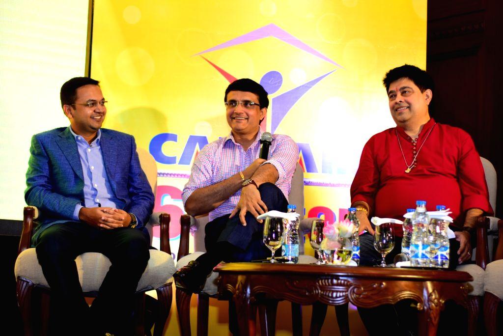 Cricket Association of Bengal (CAB) president Sourav Ganguly, filmmaker Raj Chakraborty, music composer Jeet Gannguli, actor Bonny Sengupta and others at the launch of song 'Joy Joy Durga ... - Bonny Sengupta, Sourav Ganguly and Chakraborty