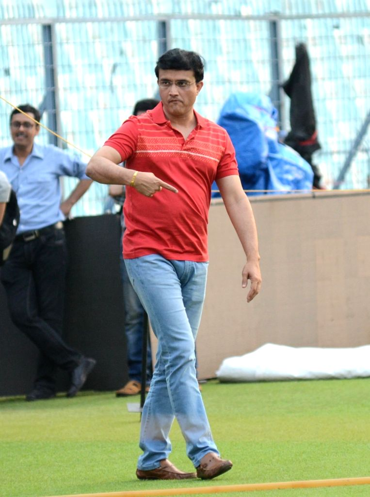 Cricket Association of Bengal (CAB) president and former cricketer Sourav Ganguly during a practice session, in Kolkata on May 21, 2018. - Sourav Ganguly