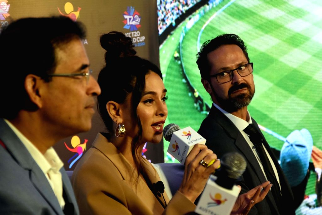 Cricket commentators Harsha Bhogle and Shibani Dandekar with ICC T20 World Cup 2020 Local Organising Committee CEO, Nick Hockley at the launch of ICC T20 World Cup 2020 campaign, in Mumbai on ...