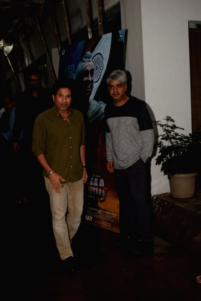 "Cricket legend Sachin Tendulkar and director Shaad Ali at the special screening of film ""Soorma"" in Mumbai on July 11, 2018. - Shaad Ali and Sachin Tendulkar"