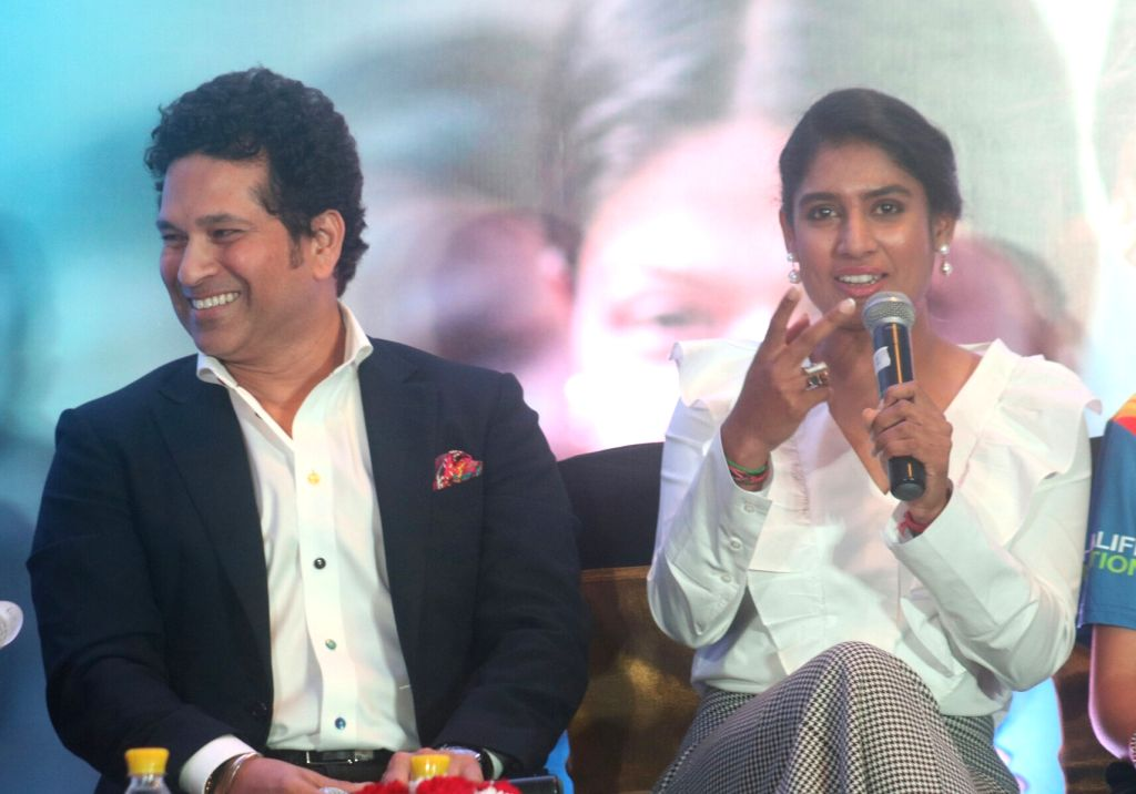 Cricket legend Sachin Tendulkar and Indian women cricketer Mithali Raj during a panel discussion on International Day of the Girl Child in New Delhi on Oct 11, 2017. - Sachin Tendulkar