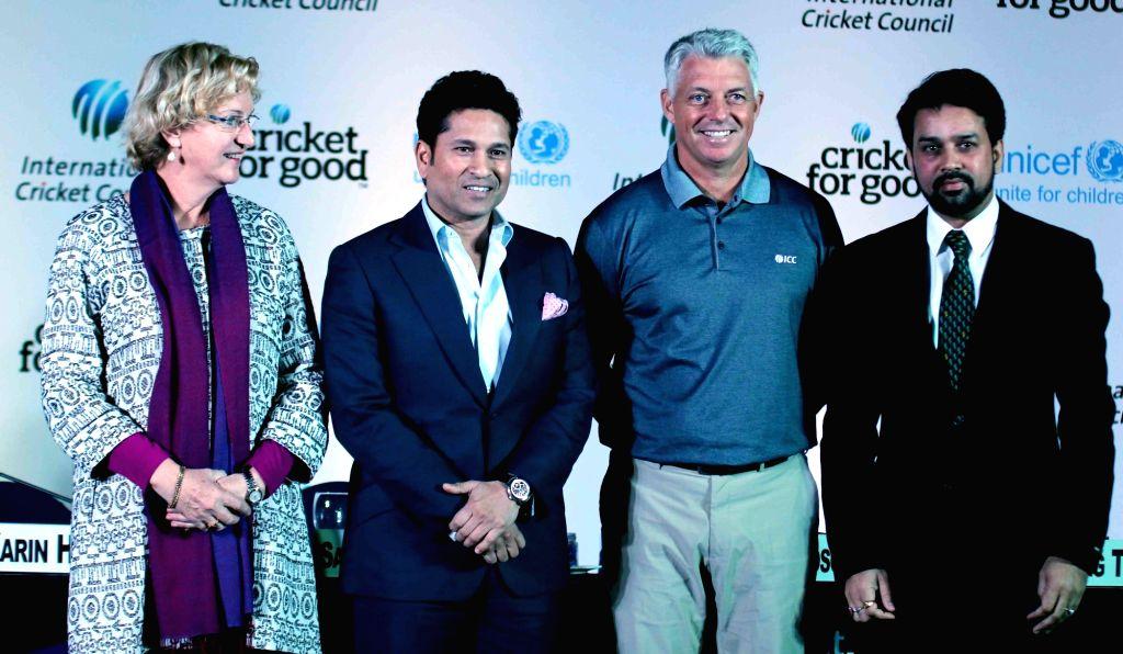 Cricket legend Sachin Tendulkar at the launch of ICC Cricket for Good & Team Swachh campaign in New Delhi, on Jan 18, 2016. - Sachin Tendulkar